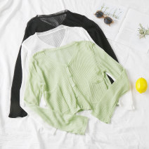 Wool knitwear Summer of 2019 Average size White, black, light green Long sleeves singleton  Cardigan other 31% (inclusive) - 50% (inclusive) Regular Thin money commute Bat type V-neck Bat sleeve stripe Single breasted Korean version 18-24 years old Button