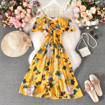 Dress Summer 2020 Pink, green, dark blue, khaki, yellow, scarlet, dark red, apricot with black background, big white with black background Average size longuette singleton  Short sleeve commute One word collar High waist Decor Socket A-line skirt Petal sleeve camisole 18-24 years old Type A other