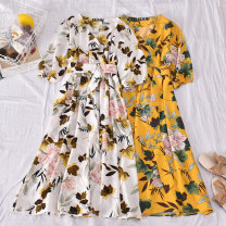 Dress Summer 2020 Average size Mid length dress singleton  Short sleeve commute V-neck High waist Broken flowers Socket A-line skirt other Others 18-24 years old Type A Korean version Bows, folds, prints 30% and below other polyester fiber
