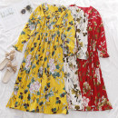 Dress Autumn of 2019 White, red, yellow, green, dark blue, pink Average size longuette singleton  Long sleeves commute V-neck High waist Broken flowers Socket A-line skirt pagoda sleeve Others 18-24 years old Type A Korean version printing 30% and below other other
