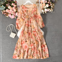 Dress Summer 2020 Pink Average size longuette singleton  Long sleeves commute Crew neck High waist Decor Socket A-line skirt routine Others 18-24 years old Type A Korean version printing Qiner-0993 Pink Floral Long Sleeve Dress 30% and below Chiffon polyester fiber