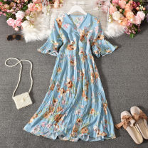 Dress Summer 2020 Yellow, black, pink, light blue Average size longuette singleton  Long sleeves commute V-neck High waist Decor Socket A-line skirt pagoda sleeve Others 18-24 years old Type A Korean version printing Red rose-607v collar short sleeve hem dress 30% and below Chiffon cotton