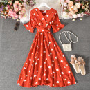 Dress Summer 2020 Apricot, black, green, pink, red, watermelon red Average size longuette singleton  Short sleeve commute V-neck High waist Decor Socket A-line skirt Petal sleeve Others 18-24 years old Type A Korean version Fold, print Yang yan-1326v neckline belt short sleeve skirt with love pattern