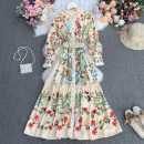 Dress Spring 2021 Apricot, black Average size longuette singleton  Long sleeves commute stand collar High waist Decor Socket A-line skirt routine Others 25-29 years old Type A court printing Qiner 9596 with belt flower dress 30% and below Chiffon polyester fiber