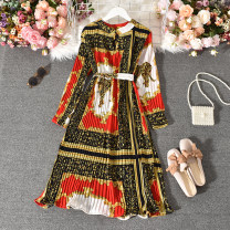 Dress Autumn 2020 gules Average size longuette singleton  Long sleeves commute stand collar High waist Decor Socket A-line skirt routine Others 18-24 years old Type A Korean version Fold, print Huizai-6860 red leopard skirt 30% and below other polyester fiber