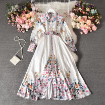 Dress Autumn 2020 white Average size longuette singleton  Long sleeves commute Polo collar High waist Decor Single breasted Big swing routine Others 25-29 years old Type A ethnic style printing Qiner-9523 Lapel with belt long sleeve dress 30% and below other polyester fiber