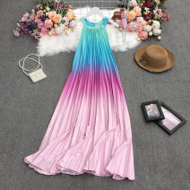 Dress Summer 2021 Red, yellow, dark green, purple, pink Average size longuette singleton  Sleeveless commute Crew neck High waist Solid color Socket A-line skirt routine Others 18-24 years old Type A Korean version Printed, stitched, pleated 30% and below other polyester fiber