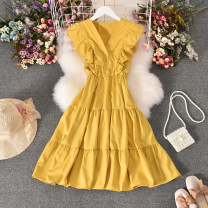 Dress Summer 2020 Yellow, green, red, light blue, pink, watermelon red, caramel, dark blue Average size Mid length dress singleton  Sleeveless commute V-neck High waist Solid color Socket A-line skirt routine camisole 18-24 years old Type A Korean version Fold, print 30% and below other