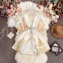 Dress Autumn 2021 white Average size longuette singleton  Long sleeves commute stand collar High waist Decor Single breasted A-line skirt puff sleeve Others 25-29 years old Type A Korean version Print, fold Huizai - 6065 short stand collar BELT DRESS 30% and below other polyester fiber