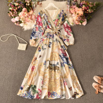 Dress Autumn 2020 Yellow, blue, black, white, pink Average size longuette singleton  Long sleeves commute V-neck High waist Decor Socket A-line skirt routine Others 18-24 years old Type A Korean version printing Huizai-2020v collar butterfly flower dress 30% and below other polyester fiber
