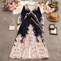Dress Spring 2021 White, pink, yellow, sky blue, dark blue Average size longuette singleton  Long sleeves commute V-neck High waist Decor Socket A-line skirt pagoda sleeve Others 18-24 years old Type A court Prints, bows, folds Gege-9350 open button long sleeve dress 30% and below other