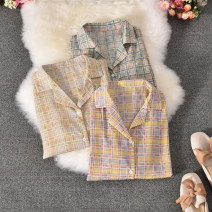 shirt Yellow, green, apricot Average size Summer 2020 polyester fiber 30% and below Short sleeve commute Regular tailored collar Single row multi button routine lattice 18-24 years old Straight cylinder Korean version Xiaowanzi-618 Plaid suit collar short sleeve Button blending