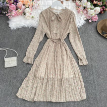 Dress Autumn 2021 Apricot, light green, black, sapphire, pink Average size longuette singleton  Long sleeves commute stand collar High waist Decor Socket A-line skirt pagoda sleeve Others 18-24 years old Type A Korean version Print, fold Yiyi-828 bandage Long Sleeve Dress 30% and below other
