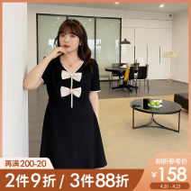 Women's large Summer 2021 Black, black pre-sale Large L, large XL, 2XL, 3XL, 4XL, 5XL Dress singleton  commute Self cultivation thin Conjoined Short sleeve Solid color Korean version One word collar polyester Three dimensional cutting puff sleeve Q3208 Caidoble / caidoble · CAI 25-29 years old bow