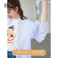 shirt Blue bar XS,S,M,L Summer of 2019 polyester fiber 96% and above Nine point sleeve commute Medium length other routine stripe 25-29 years old Self cultivation Oece lady 192NR222