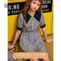 Dress Summer of 2019 Tibetan green, scarlet XS,S,M,L Short skirt singleton  Short sleeve commute other High waist lattice routine 25-29 years old Oece lady 192FS189 More than 95% other