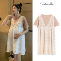Dress Other / other Lace suit M,L,XL,XXL Europe and America Short sleeve Medium length summer Crew neck Solid color Lace