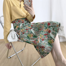 skirt Spring 2020 S,M,L Flower jacquard Mid length dress Versatile Natural waist A-line skirt Broken flowers Type A 18-24 years old 81% (inclusive) - 90% (inclusive) Chiffon polyester fiber