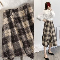 skirt Spring 2020 S,M,L Khaki pattern Mid length dress commute High waist A-line skirt lattice Type A 18-24 years old More than 95% Wool other Korean version