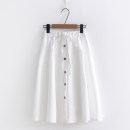 skirt Spring 2021 Average size White, pink, light green, black, navy Middle-skirt fresh Natural waist A-line skirt Solid color Type A 18-24 years old 51% (inclusive) - 70% (inclusive) cotton Lace up, button