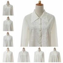 shirt See page for size Summer 2020 polyester fiber 96% and above Long sleeves Sweet Regular other Single row multi button routine Solid color Mori Chiffon
