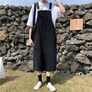 skirt Spring 2020 S [90-100kg], m [100-110kg], l [110-120kg], XL [120-135kg], 2XL [135-150kg], 3XL [150-165kg], 4XL [165-175kg], 5XL [175-200kg] black Mid length dress commute High waist A-line skirt Type H 18-24 years old Denim Coardiarn / Kuandian Korean version