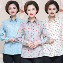 shirt Color 1, color 2, color 3, color 4, color 6, color 7, color 8 L,XL,2XL,3XL,4XL Autumn of 2019 cotton 96% and above Long sleeves commute Regular Polo collar Single row multi button shirt sleeve Broken flowers 40-49 years old Straight cylinder lady printing cotton