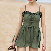 one piece  Shaddock M,L,XL Grey green Skirt one piece With chest pad without steel support other female Sleeveless Casual swimsuit