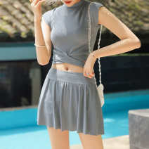 Split swimsuit Xuan Zhiqi grey M,L,XL Skirt split swimsuit With chest pad without steel support polyester fiber