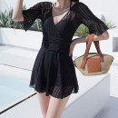 one piece  Counter customization M,L,XL,XXL black Skirt one piece Steel strap breast pad Polyester, nylon, spandex, others female Short sleeve Casual swimsuit Solid color Lotus leaf edge
