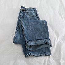 Jeans Autumn of 2019 blue S,M,L,XL trousers High waist Wide legged trousers Thin money washing Thin denim