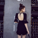 Dress Spring 2021 black S,M,L Short skirt singleton  Short sleeve street V-neck High waist Solid color Socket One pace skirt pagoda sleeve Others 25-29 years old Type H Europe and America