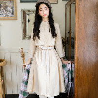 Dress Spring 2020 Khaki, dark blue S,M,L Mid length dress singleton  three quarter sleeve commute stand collar High waist Solid color Single breasted A-line skirt routine Others 18-24 years old Type A literature Bows, ties, stitches, buttons other