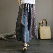 Casual pants Turkish Blue Coffee Average size Summer 2021 trousers Wide leg pants Natural waist commute routine 96% and above hemp Retro hemp