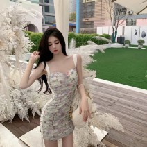 Dress Summer 2021 Decor S,M,L Short skirt singleton  Sleeveless Sweet V-neck High waist Decor zipper other other camisole 18-24 years old Type X Hollowed out, pleated, bright silk, pleated, lace, bandage, printing 91% (inclusive) - 95% (inclusive) other other