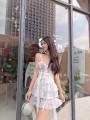 Dress Summer of 2019 white S, M Mid length dress singleton  Short sleeve commute One word collar High waist Solid color zipper Irregular skirt routine Breast wrapping 18-24 years old Type X Retro 91% (inclusive) - 95% (inclusive) other other