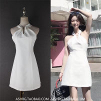 Dress Spring of 2018 White black S M Short skirt Sleeveless Sweet V-neck Solid color zipper Type X Hollowing out 91% (inclusive) - 95% (inclusive) other