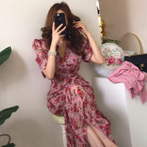 Dress Spring 2021 Model color S,M,L Mid length dress singleton  Short sleeve Sweet V-neck Broken flowers A-line skirt puff sleeve 25-29 years old Other / other other