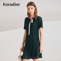 Dress Summer of 2019 green S,M,L,XL,2XL Middle-skirt singleton  Short sleeve commute Crew neck middle-waisted other Socket other routine Others 30-34 years old Koradior / coretti Simplicity other polyester fiber