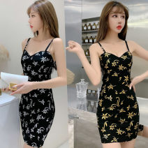 Dress Summer 2020 Gold, silver Average size Short skirt singleton  Sleeveless Sweet V-neck High waist Decor Socket One pace skirt camisole Other / other printing cotton Ruili