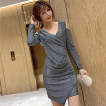 Dress Autumn 2020 Black, gold, silver Average size Short skirt singleton  Long sleeves commute V-neck High waist Solid color Other / other Korean version 98612# polyester fiber