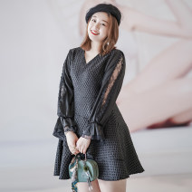 Women's large Winter 2020, spring 2021 black 3XL [suggested 120-145 kg], 4XL [suggested 145-170 kg], 5XL [suggested 170-195 kg], 6xl [suggested 195-220 kg], 2XL [suggested 100-120 kg] Dress singleton  Sweet Self cultivation moderate Long sleeves other Three dimensional cutting routine Middle-skirt
