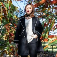 Women's large Winter 2020, autumn 2020 black 3XL,4XL,5XL,6XL woolen coat singleton  commute Self cultivation thick Cardigan Long sleeves Solid color Korean version Polo collar Medium length