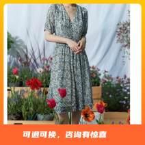 Dress printing Summer 2021 longuette Short sleeve singleton  commute V-neck Broken flower High waist Condom 25-29 years old routine A-line skirt polyester fiber Type A 214T62112 Naivie Chiffon 155/80A,160/84A,165/88A,170/92A