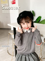Sweater / sweater 110cm,120cm,130cm,140cm,150cm,160cm,165cm,170cm other neutral Hemp grey Pullover YEP APRIL Korean version There are models in the real shooting Socket routine Crew neck Ordinary wool Solid color