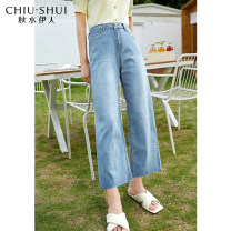 Jeans Summer 2021 trousers High waist Straight pants routine 25-29 years old Zipper button Multi Pocket light colour 61211DS17A914 thinking of an old acquaintance on seeing a familiar scene 71% (inclusive) - 80% (inclusive) Cotton 78.4% polyester 16.6% polyurethane elastic 1.7% others 3.3% S M L XL