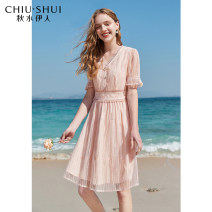 Dress Summer 2021 Meat Pink S M L XL Mid length dress Short sleeve commute V-neck High waist Solid color Socket A-line skirt routine 25-29 years old Type A thinking of an old acquaintance on seeing a familiar scene Ol style Lace with ruffles 61205DS02A255 51% (inclusive) - 70% (inclusive) other nylon