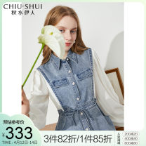 Dress Spring 2021 Denim blue S M L XL Mid length dress singleton  Long sleeves commute Polo collar Elastic waist Solid color Single breasted other routine 25-29 years old Type X thinking of an old acquaintance on seeing a familiar scene lady Pleated pocket lace up stitched bead button 61104DS17A244