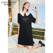 Dress Summer 2021 black S M L XL Mid length dress singleton  Short sleeve commute Doll Collar Loose waist Solid color Socket A-line skirt routine 25-29 years old Type H thinking of an old acquaintance on seeing a familiar scene lady Splicing 61207DS02A438 31% (inclusive) - 50% (inclusive) nylon