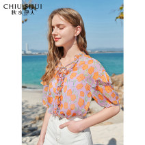 Lace / Chiffon Summer 2021 Orange S M L XL Short sleeve commute Socket singleton  Straight cylinder have cash less than that is registered in the accounts V-neck Decor routine 25-29 years old thinking of an old acquaintance on seeing a familiar scene 61205DS05A283 Korean version Polyester 100%